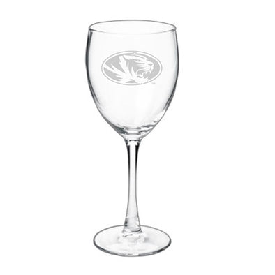 Mizzou Oval Tiger Head Etched Wine Glass