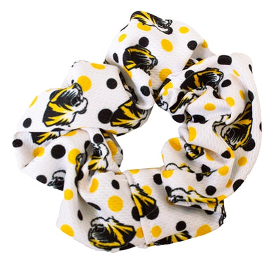 Mizzou Tiger Head Black and Gold Polka Dot Scrunchie