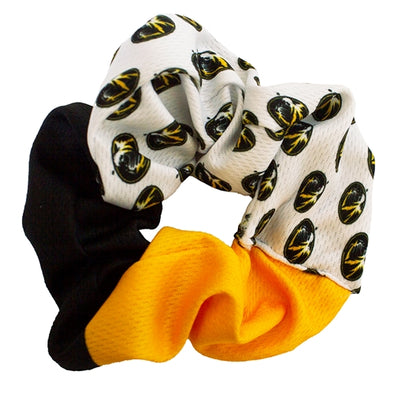 Mizzou Oval Tiger Head Black Gold and White Scrunchie