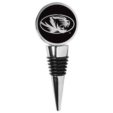 Mizzou Oval Tiger Head Chrome Bottle Stopper