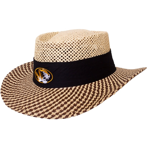 Mizzou Oval Tiger Head Black Band Straw Hat
