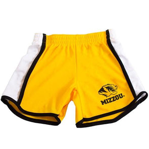 Mizzou Tiger Head Gold Youth Track Shorts