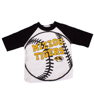 Mizzou Tigers Baseball White and Black Crew Neck Shirt