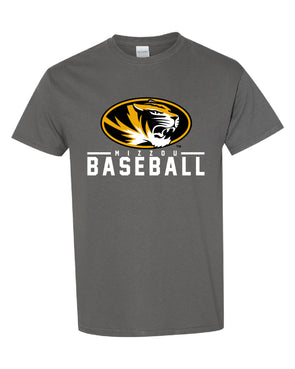 Mizzou 2021 Baseball Oval Tiger Head Grey T-Shirt