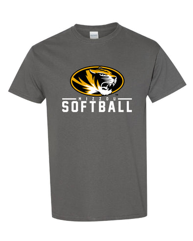 Mizzou 2021 Softball Oval Tiger Head Grey T-Shirt