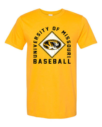 Mizzou Baseball 2020 Arched Square Gold T-Shirt
