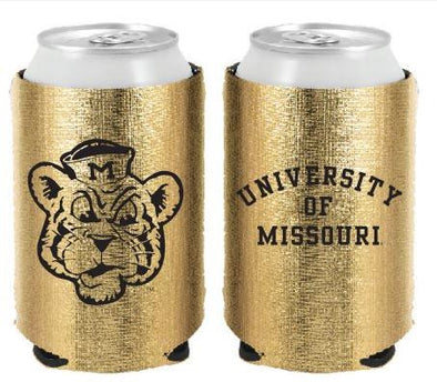 Mizzou Vintage Beanie Logo Gold Metallic Can Holder