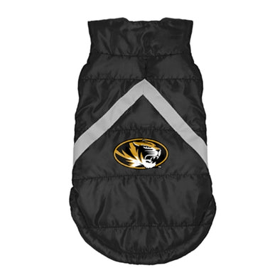 Mizzou Oval Tiger Head Black Pet Puffer Vest