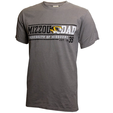 Mizzou Dad Tiger Head University of Missouri 1839 Grey T-Shirt