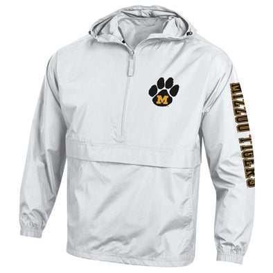 Mizzou Tigers Tiger Paw M Champion White 1/2 Zip Jacket