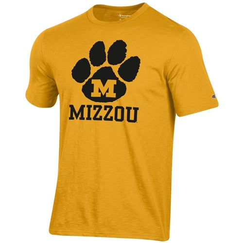 Mizzou M Pawprint Champion Gold T-Shirt