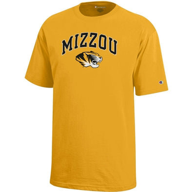 Mizzou Tiger Head Champion Youth Gold T-Shirt