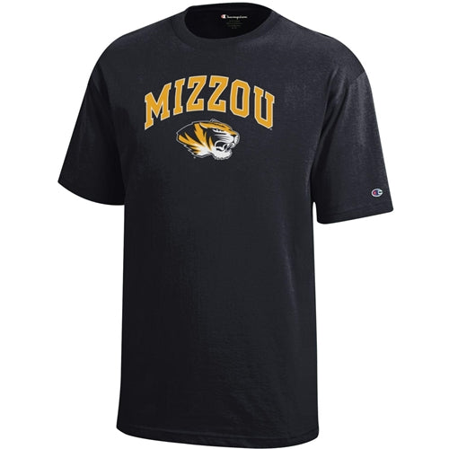 Mizzou Tiger Head Champion Youth Black T-Shirt