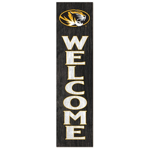 Mizzou Oval Tiger Head Welcome Birch Leaner Sign