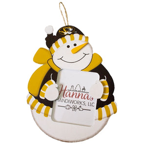 Mizzou Oval Tiger Head Black and Gold Snowman Picture Frame Ornament