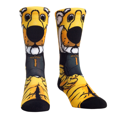 Mizzou Oval Tiger Head Truman Tiger Black and Gold Socks