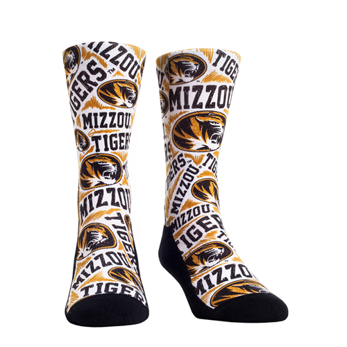 Mizzou Tigers Oval Tiger Head Sketch Design White Socks
