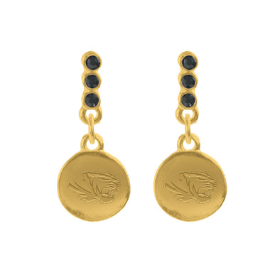 Mizzou Tiger Head Black and Gold Drop Earrings