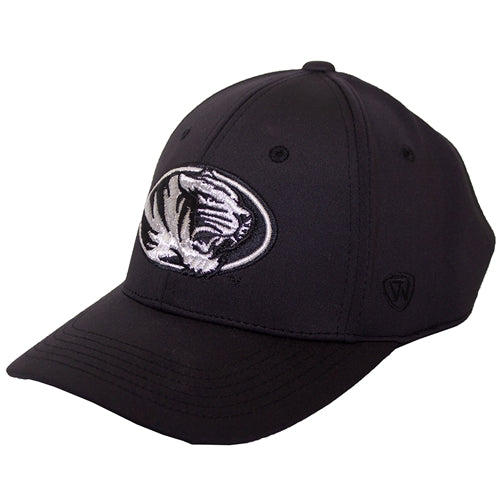 Mizzou Oval Tiger Head Silver and Black Memory Fit Hat