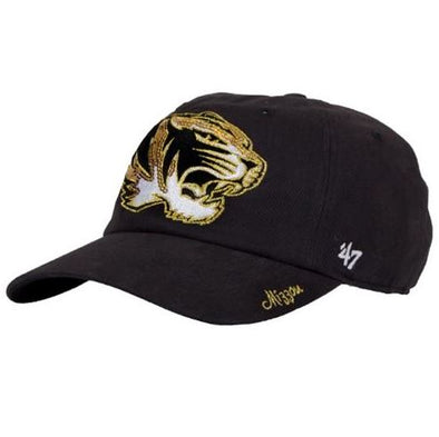 Mizzou Ladies Sparkle Oval Tiger Head Black Adjustable Hat