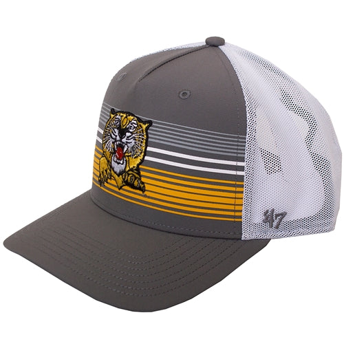 Mizzou Pouncing Tiger Stripe Grey and White Trucker Hat