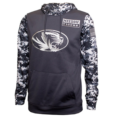 Mizzou Tigers Oval Tiger Head Digital Camouflage Grey Hoodie