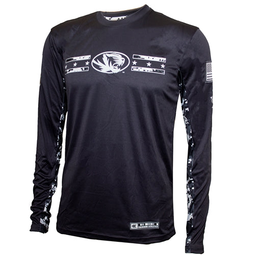 Mizzou Tigers Oval Tiger Head Dri-Fit Digital Camouflage Grey Long Sleeve T-Shirt