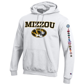 Mizzou Oval Tiger Head All Schools SEC White Hoodie