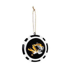 Mizzou Game Chip Tiger Head Ornament