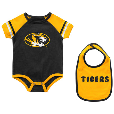 Mizzou Colosseum Oval Tiger Head Onesie with Bib