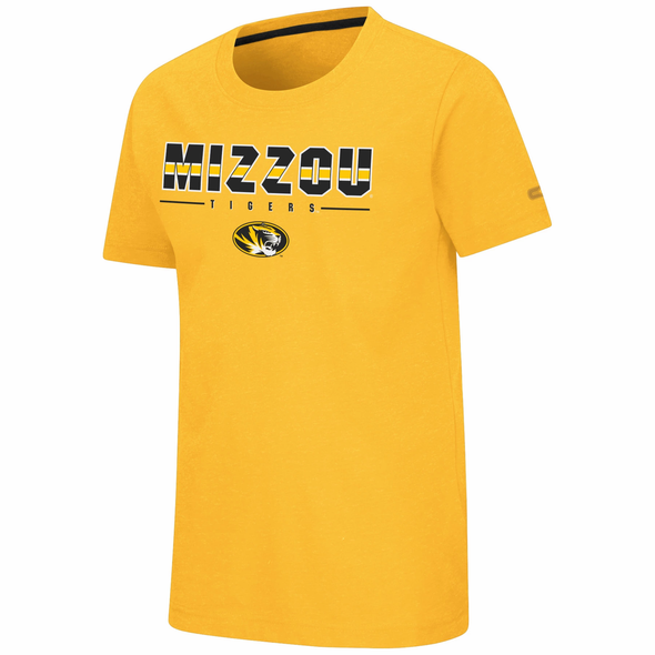 Mizzou Colosseum Youth Oval Tiger Head Gold T-Shirt