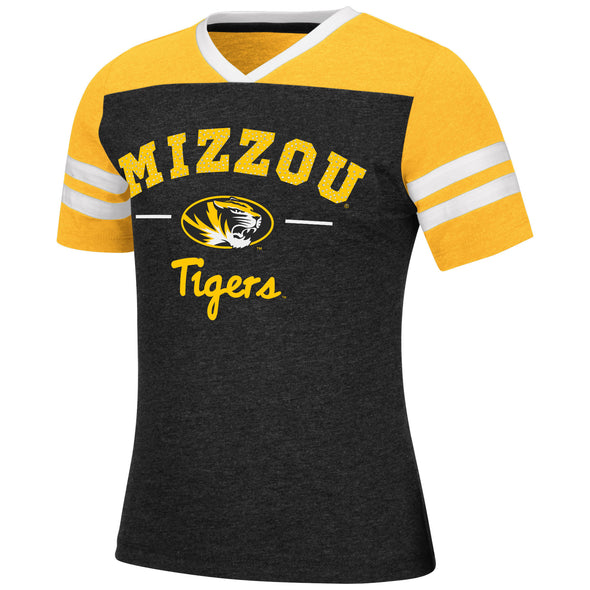 Mizzou Colosseum Youth Girls Sequin Mizzou Black and Gold T-Shirt