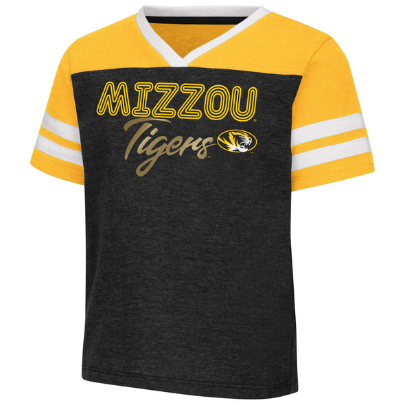 Mizzou Colosseum Toddler Girls Black and Gold Foil Tigers T-Shirt