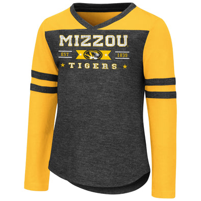 Mizzou Colosseum Toddler Girls Long Sleeve Black and Gold T-Shirt