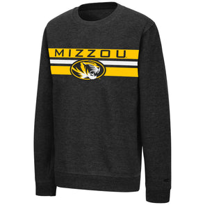 Mizzou Youth Colosseum Oval Tiger Head Black Crew Sweatshirt