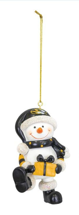 Mizzou Snowman Resin Ornament with Present