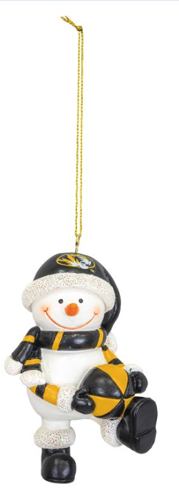 Mizzou Snowman Resin Ornament with Ball
