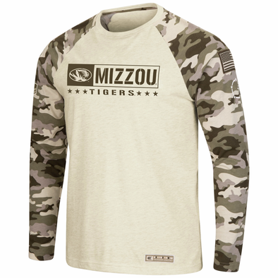 Mizzou Tigers Oval Tiger Head Colosseum Tan Camo Long Sleeve T-Shirt