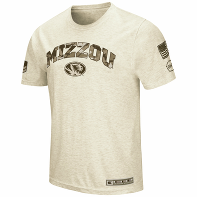 Mizzou Tigers Oval Tiger Head Colosseum Tan Camo T-Shirt