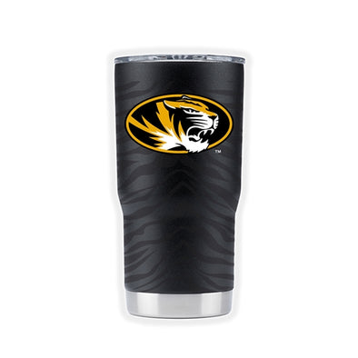 Mizzou Oval Tiger Head Powder Coated Black Tiger Stripe Tumbler