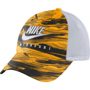 Mizzou Nike® 2021 Adjustable Spring Black and Gold Tie Dyed Trucker Mesh Hat