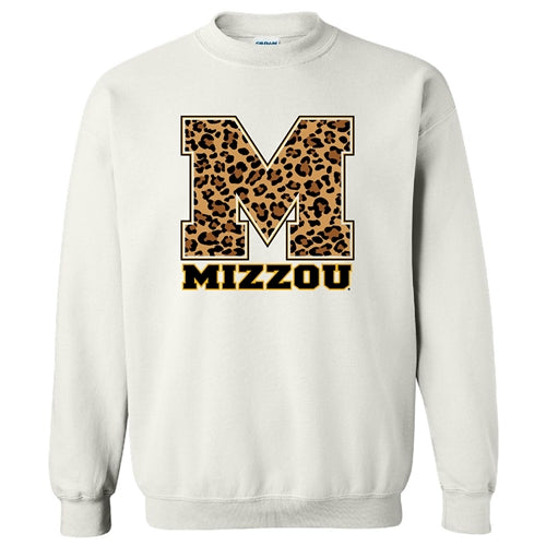 Mizzou Cheetah Print Block M White Sweatshirt