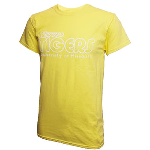 Mizzou Tigers University of Missouri Bubble Letters Yellow T-Shirt