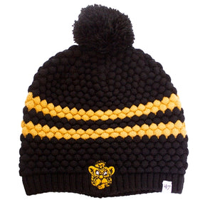 Mizzou Beanie Tiger Women's Black and Tan Pom Beanie