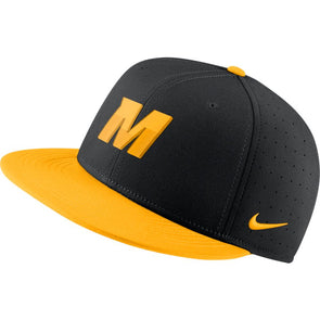 Mizzou Nike® 2021 On the Field Replica Baseball Fitted Gold Block M Gold Bill Hat