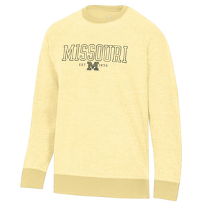 Missouri M Inside Out Yellow Crew Sweatshirt