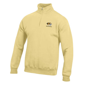 Mizzou Tiger Head 1/4 Zip Yellow Sweatshirt