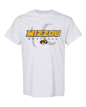 Mizzou 2021 Softball Watermark Oval Tiger Head Grey T-Shirt