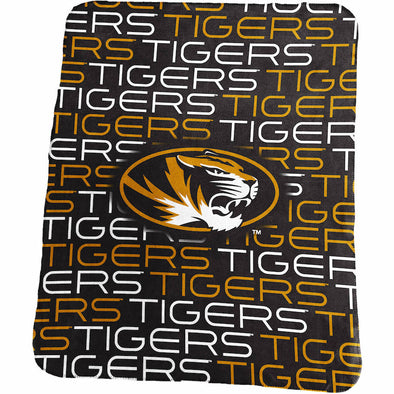 Mizzou Oval Tiger Head Classic Black Fleece Blanket