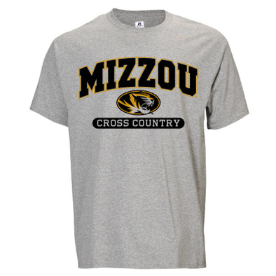 Mizzou Cross Country Grey Short Sleeve Crew Neck T-Shirt